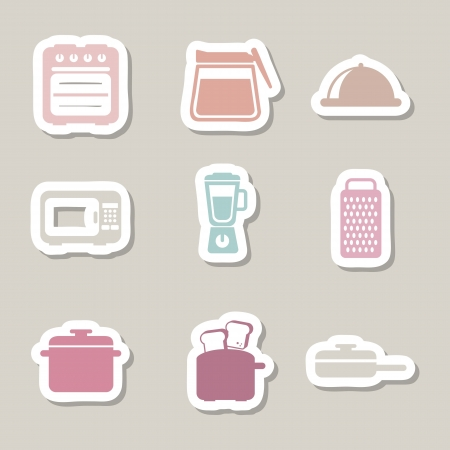 kitchen icons over beige background. vector illustration Stock Vector - 18211843
