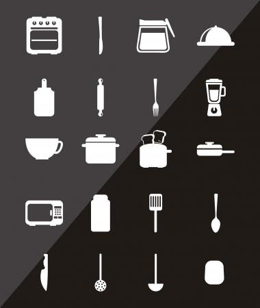 kitchen icons over black background. vector illustration Stock Vector - 18195901