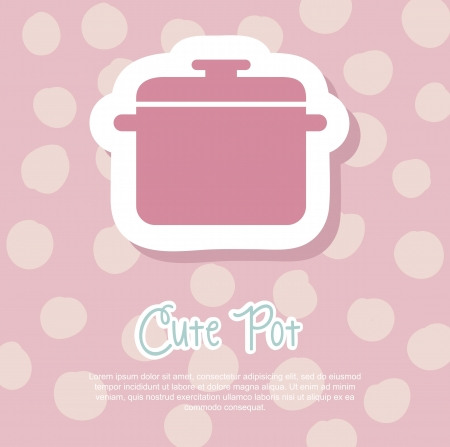 cute pot over pink background. vector illustration Vector