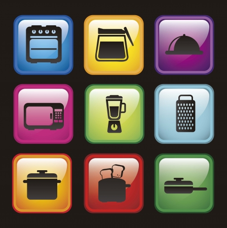 kitchen icons over black background. vector illustration Stock Vector - 18211761