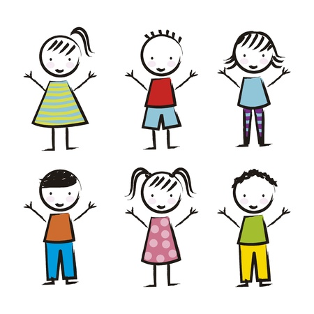 cute girl cartoon: children over white background, drawing. vector