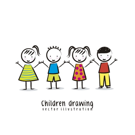 girls holding hands: children over white background, drawing. vector