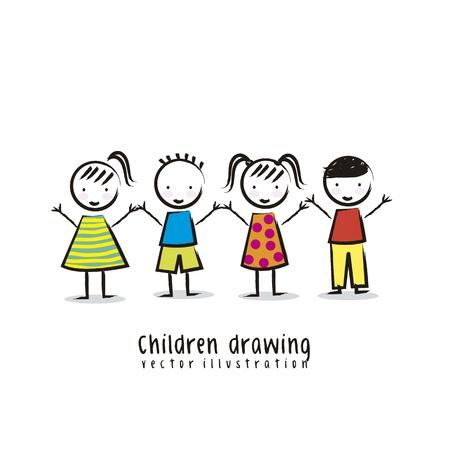jardin infantil: ni�os sobre fondo blanco, dibujo. vector
