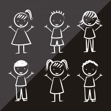 children over black background, drawing. vector  Vector