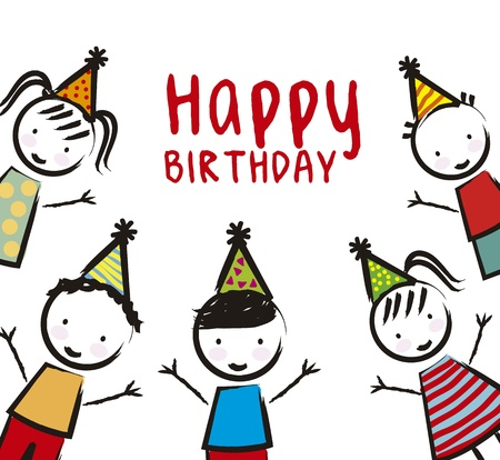 birthday children over white background. vector illustration Vector