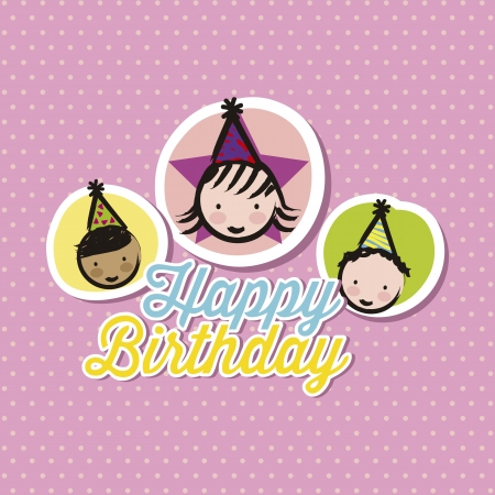 birthday card over  pink background. vector illustration Vector
