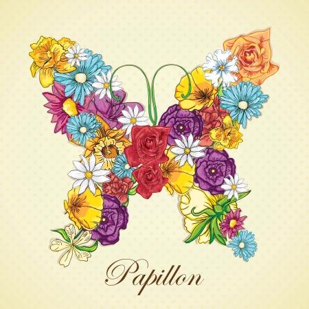 Différentes fleurs, formant un papillon. Illustration Vecteur