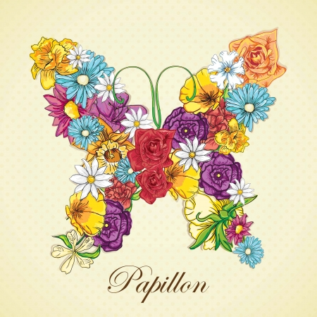 Different flowers, forming a Butterfly. Vector Illustration Illustration
