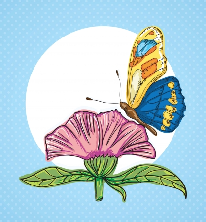 perched: Beautiful Butterfly Perched on a Flower. Vector Illustration Illustration