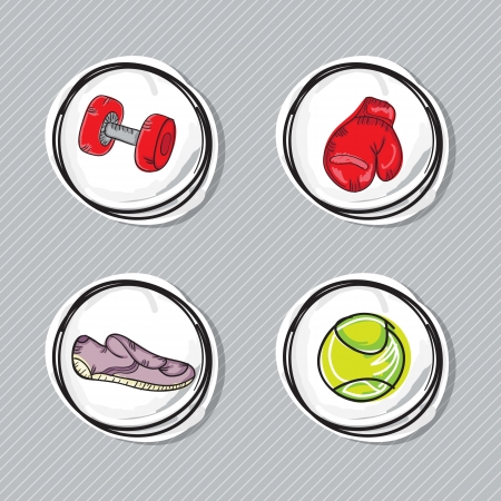 running shoes: Fitness Icons (boxing gloves, dumbbell, tennis ball, running shoes). On grey background