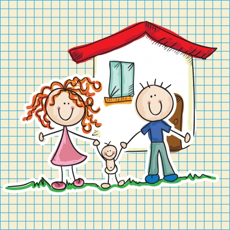 g�n�alogie: Ic�nes de la famille (p�re, m�re, enfant). Illustration Vecteur