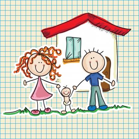 lifestyle family: Iconos de la familia (padre, madre, hijo). Vector Illustration