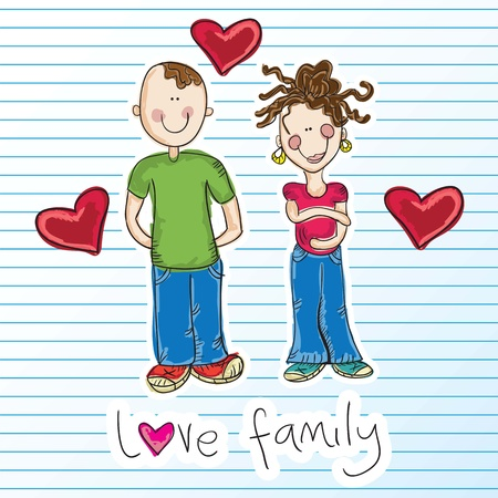 "g�n�alogie: Famille Couple Ic�nes ""Expecting b�b�"". Vector illustration"