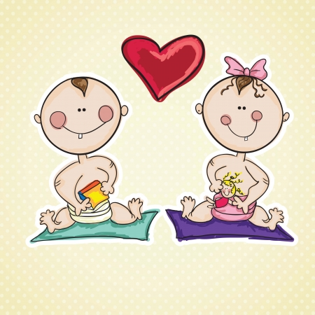 affinity: Family Icons ( baby girl, and baby boy). With hearts. Vector Illustration