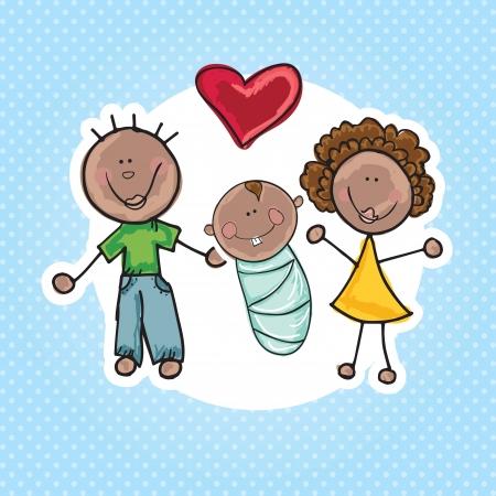 g�n�alogie: Ic�nes de la famille (p�re, m�re, enfant). Vector Illustration Illustration