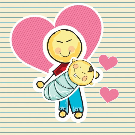 Family Icons (Father holding his baby). Vector Illustration Stock Vector - 18274584