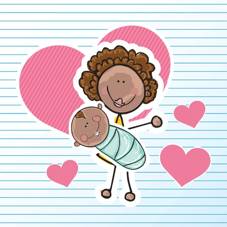 mother holding baby: Family Icons (Mother holding his baby). Vector Illustration