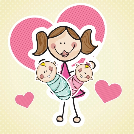 Mother with twins babys, and hearts. Vector Illustration Vector