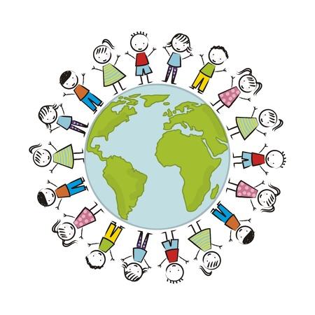 paix monde: illustration de jour de terre avec les enfants sur fond blanc. vecteur
