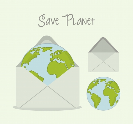 save planet over green background. vector illustration Stock Vector - 18333708
