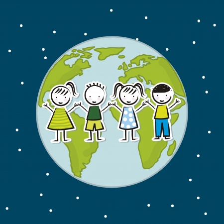 earth day illustration with children over blue background. vector Vector