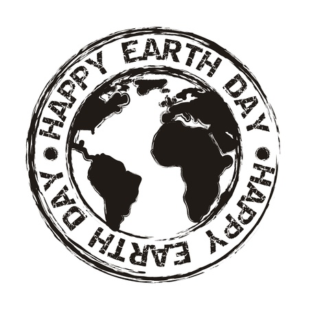 happy planet earth: D�a de la Tierra sobre el fondo blanco. ilustraci�n vectorial