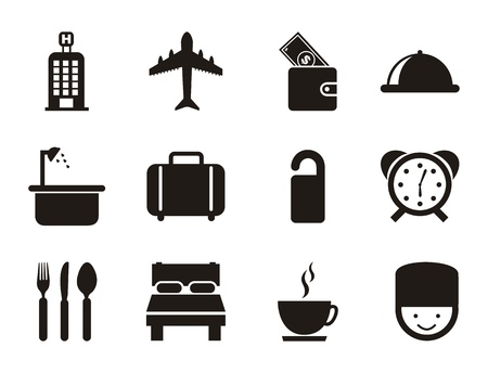 hotel icon: hotel icons over white background. vector illustration