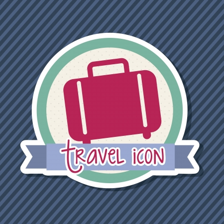 travel icon over label, suitcase. vector illustration Vector