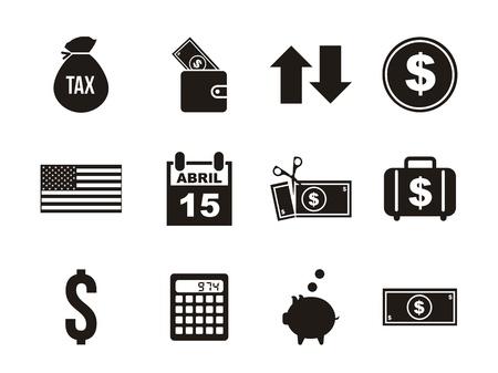 dollaro: Icone d'imposta su sfondo bianco. illustrazione vettoriale