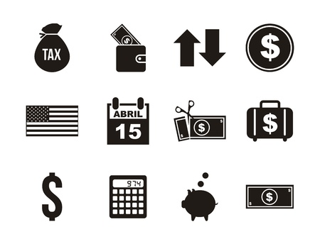 bag of money: tax icons over white background. vector illustration Illustration