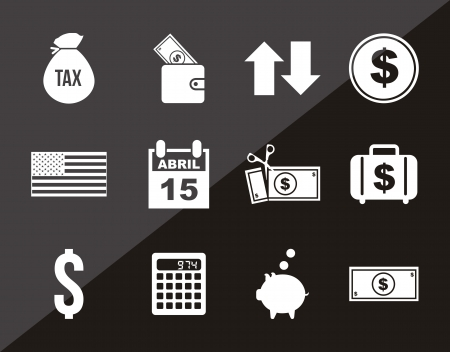 tax form: tax icons over black background. vector illustration