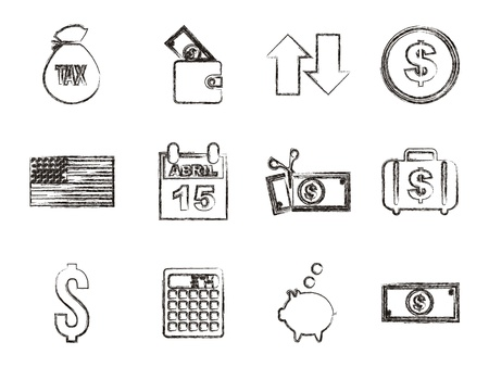 tax icons over white background. vector illustration Stock Vector - 18333987