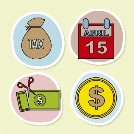 tax icons over  beige background. vector illustration Stock Vector - 18333724