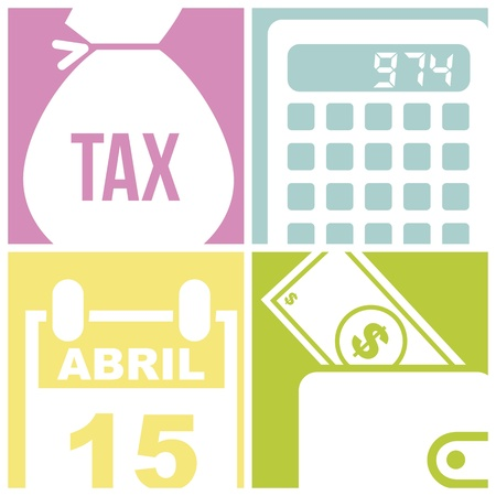 owe: tax icons over  squares background. vector illustration Illustration