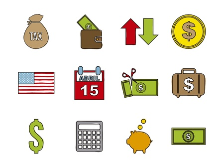 tax icons over white background. vector illustration Stock Vector - 18333707