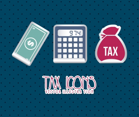 owe: tax icons over blue background. vector illustration