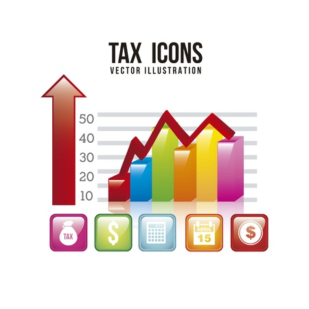 tax illustration with graphic bar over white background. vector Vector