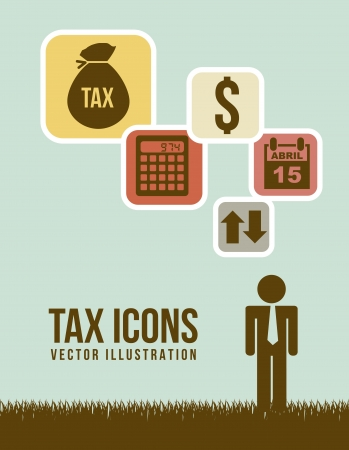tax return: tax sign over green background. vector illustration