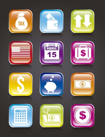 owe: tax icons over black background. vector illustration