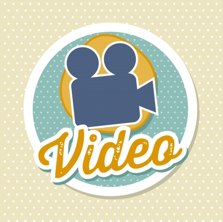 digicam: video camera label over beige background. vector