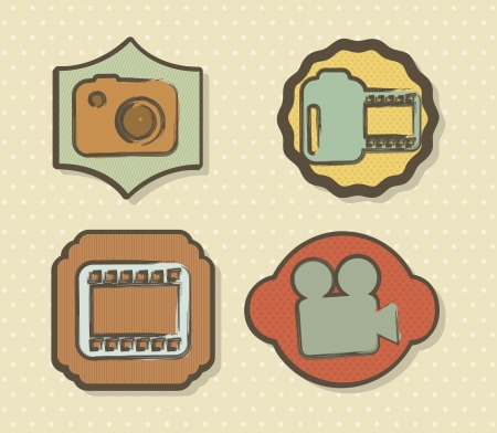 video icons over beige background. vector illustration Vector