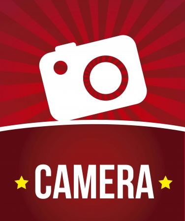camera icon over red background. vector illustration