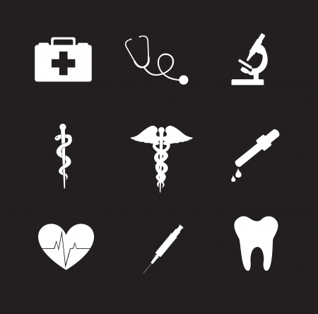 Health icons over black background vector illustration Stock Vector - 18445796