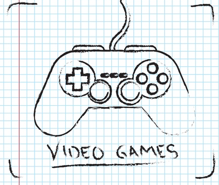Video games over squares background vector illustration  Vector