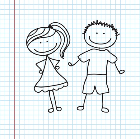 Children couple over paper background vector illustration Vector