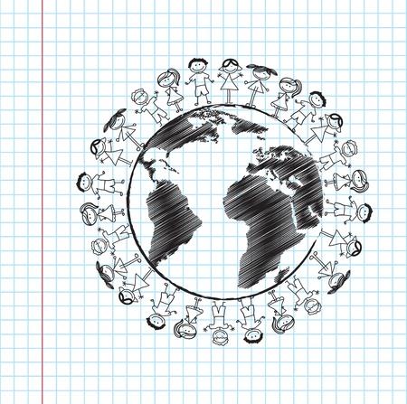 Children and world over paper background vector illustration Stock Vector - 18445866