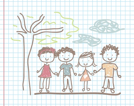 Children and lanscape over paper background vector illustration Stock Vector - 18445793