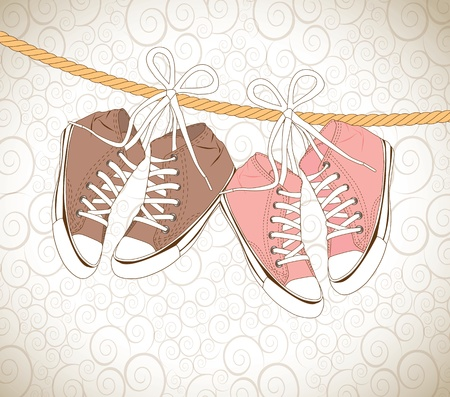 old shoes over vintage background vector illustration Stock Vector - 18445869