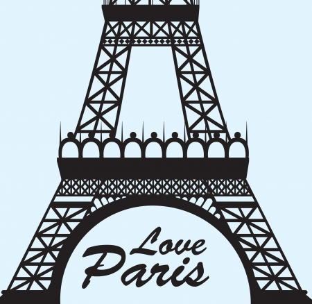 eifel: Love paris with tower eiffel over blue background vector illustration