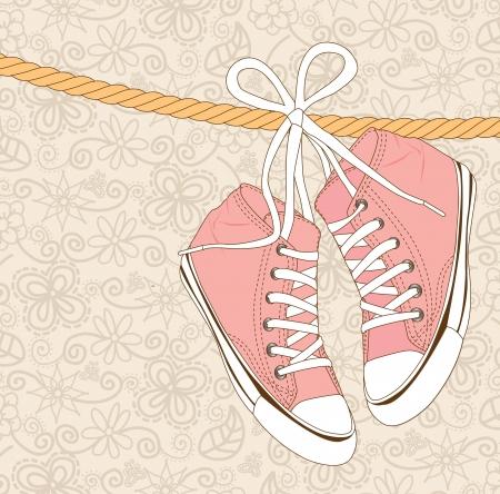 old shoes over vintage background vector illustration